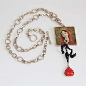 Artistic One-of-a-Kind Lady in Red Silver Necklace